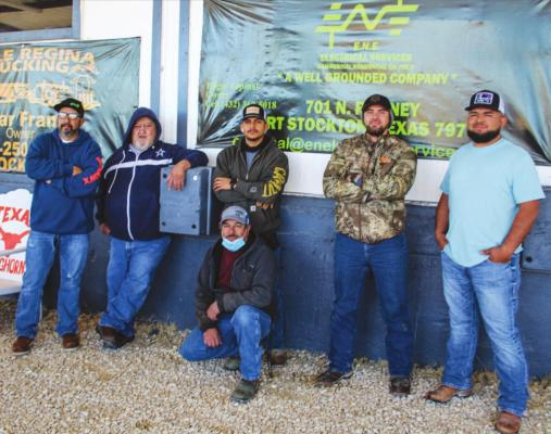 E.N.E. Electrical Services played an important role in getting power to the Focused Care Nursing Home in Fort Stockton on Monday, Feb. 15, all by way of volunteering. Pictured is E.N.E. Electrial Services employee, Edgar Espinal, owner Oscar Franco, Juan Ruiz, Reynol Zuniga, Luis Saenz, Miguel Lopez. Photo by Nathan Heuer